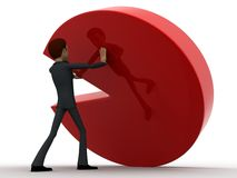 3d man support pie graph concept Royalty Free Stock Photos