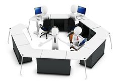 3d man with support team at call center. On white background Stock Photos