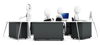 3d man with support team at call center. On white background Stock Photography