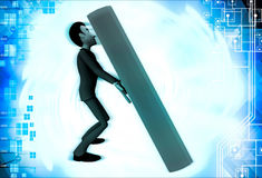 3d man supporting big red book illustration Stock Photography