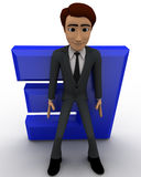 3d man supporting E letter from falling down concept Royalty Free Stock Photography