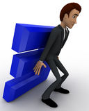 3d man supporting E letter from falling down concept Stock Photos