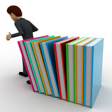 3d man supporting falling books concept Stock Photo