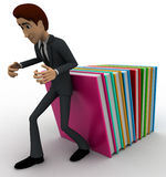 3d man supporting falling books concept Stock Photography