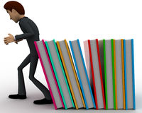 3d man supporting falling books concept Royalty Free Stock Photo