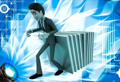 3d man supporting falling books illustration Royalty Free Stock Photo