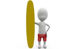 3d man surf board concept Stock Images