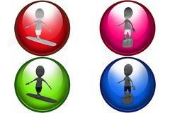 3d man on surf board icon Stock Images