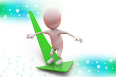 3d man surfing on arrow illustration Royalty Free Stock Images