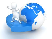 3d man surfing on blue arrow around Earth globe. 3d Stock Image