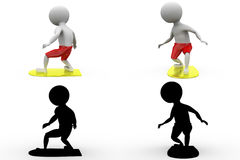 3d man surfing on board concept  collections with alpha and shadow channel included in Royalty Free Stock Image