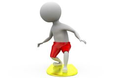 3d man surfing on board concept with white background, front angle view Royalty Free Stock Photo