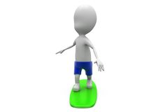 3d man surfing concept Stock Photo