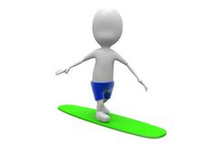 3d man surfing concept Royalty Free Stock Photography