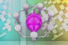 3d man surrounded by piggy illustration Royalty Free Stock Photo