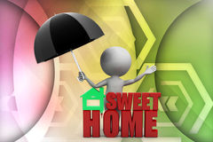 3d man sweet home illustration Royalty Free Stock Photo