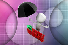 3d man sweet home illustration Royalty Free Stock Image