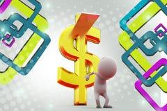3d man swim in money  illustration Stock Photos