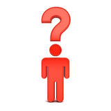 3d man symbol thinking with question mark above his head over white background with shadow Royalty Free Stock Photos