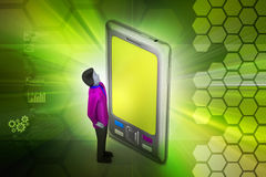 3d man with tablet computer Royalty Free Stock Photos