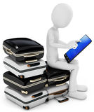 3d man with tablet and pile of suitcases Stock Photos