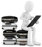 3d man with tablet and pile of suitcases Royalty Free Stock Photography