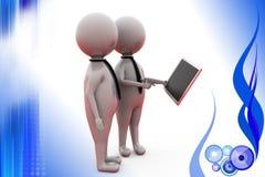 3d man tablet presentation  illustration Stock Image