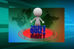 3d man with take our quiz illustration Royalty Free Stock Photography