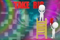 3d man take risk illustration Royalty Free Stock Photo