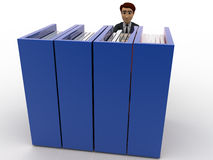 3d man taking book from bookshelf concept Royalty Free Stock Photography