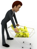 3d man taking dollar sign from cart concept Stock Images