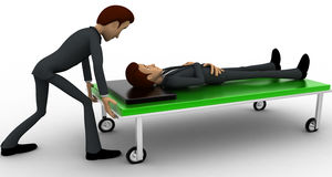 3d man taking ill man on stretcher to hospital concept Royalty Free Stock Photo