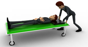 3d man taking ill man on stretcher to hospital concept Stock Images