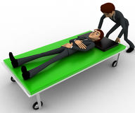 3d man taking ill man on stretcher to hospital concept Stock Photos