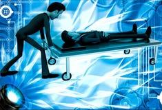 3d man taking ill man on stretcher to hospital illustration Stock Image