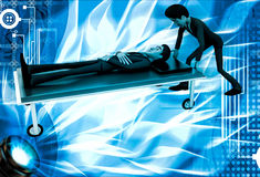 3d man taking ill man on stretcher to hospital illustration Royalty Free Stock Photography