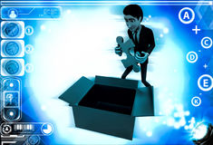 3d man taking out blue puzzle from box illustration Royalty Free Stock Image