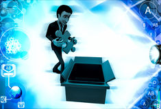 3d man taking out blue puzzle from box illustration Royalty Free Stock Photos