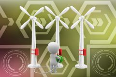 3d Man taking power from wind turbine illustration Stock Photography