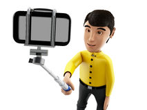 3d Man taking a selfie with selfie stick and smartphone. Royalty Free Stock Photos
