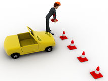 3d man taking traffic cone in and with car concept Stock Photos