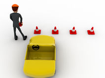 3d man taking traffic cone in and with car concept Stock Images