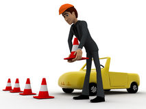 3d man taking traffic cone in and with car concept Royalty Free Stock Photo