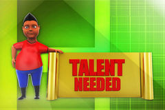 3d man talent needed illustration Stock Images