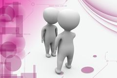 3d man talk to another man illustration Stock Photo
