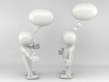 3D man talking. With speech bubbles Royalty Free Stock Images