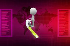 3d man with tape illustration Royalty Free Stock Images