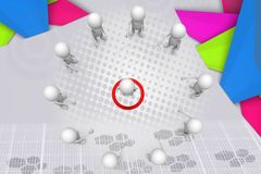 3d man target teamwork illustration Stock Photos