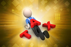 3d man with tax burden Royalty Free Stock Photography
