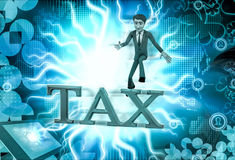 3d man tax  illustration Royalty Free Stock Image